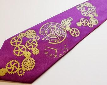 Mens necktie steampunk clock works necktie Shock Violet and Gold