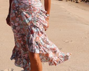 Boho Wrap around maxi skirt - Print maxi skirt - Print Wrap skirt