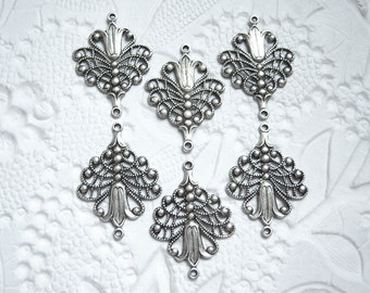 4 - Antique silver plated fleur filigree connector drop -  FH240