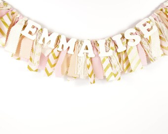 Pink and Gold Girl's Name Banner - Rag Banner - Photography Prop