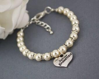 Junior Bridesmaid Gift Charm Bracelet Junior Bridesmaid Jewelry for Her Pearl Bracelet Thank you Gift Swarovski Bracelet