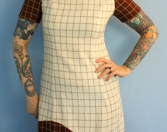 Vintage 1960s Womens Shift Dress Brown and Cream Geometric Print Mod Moderist Mad Men Style Womens Retro