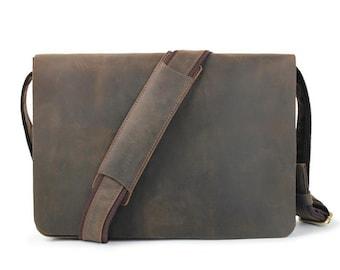 """Leather Messenger Bag, Men's Briefcase, 13 Inch Laptop Satchel,Crossbody Bag, Vintage Leather Bag, Men's Gift,12""""13""""14""""15 laptop Case 9W515"""