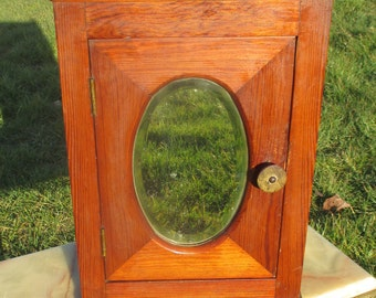 Small Vintage Apothecary Oval Mirror Beveled Glass Bathroom cabinet Bakelite