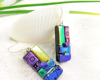 Dichroic Earrings, fused glass jewelry,  Dichroic glass jewelry, Dichroic Fused, glass earrings, Glass fusion, dichroic glass beads, rainbow
