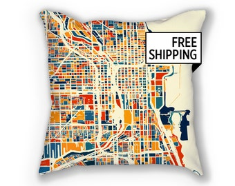 Chicago Map Pillow - Illinois Map Pillow 18x18