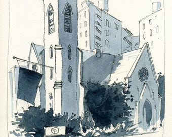Watercolor, Urban sketch, Downtown, New York, USA, Original artwork