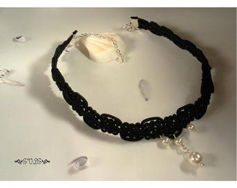 Pearl Choker, Black Lace Choker, Pearl Pendant Choker, Lace Choker, Choker Necklace, Gothic Lace Choker, Victorian Choker, Gift for Her