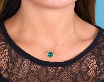 Gold Emerald Necklace, May Birthstone necklace, Bridesmaid necklace, Green emerald pendant, Gold necklace, Stone necklace   Phasis