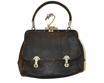 1910s Brown Leather Single Handle Handbag, Edwardian Purse, Real Leather, Needs TLC