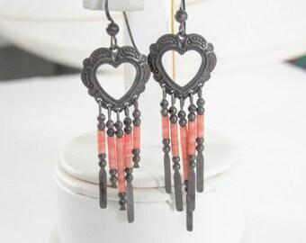 Southwestern Sterling Shell Earrings Hearts Signed Pierced French Hooks Vintage