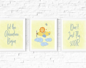 Lion Airplane Adventure Nursery Set of 3 Digital Prints, Personalized, Baby Room Decor, Digital Download, Boy or Girl, Wall Art, 8x10 #2