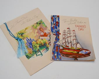 Vintage Fathers Day Cards: Set of Two Unused Cards
