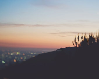 photography, Los Angeles at night, sunset, Canyon, cityscape, bokeh, orange purple blue plum, abstract decor, LA photograph, Myan Soffia