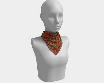 Painted Flowers Square Scarf
