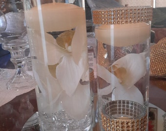 Floral Floating Candle Bling Cylinder Mirror with Votives Set-orchids-Ivory- Dark Pink-White-Wedding-Shower-Baptism-Anniversary-Party