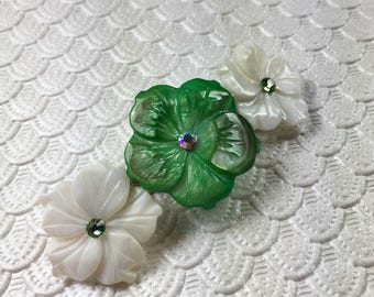 Greenery and White Plumeria Mother of Pearl Flower Barrette