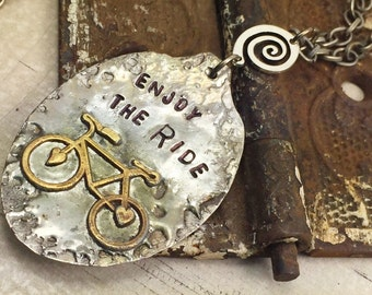 Bicycle Spoon Necklace with Hand Stamped Message Enjoy The Ride, Bike Jewelry, Soldered Jewelry, One of a Kind Necklace by Kyleemae Designs