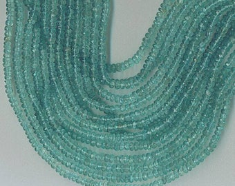 """13.25"""" Strand 3.5mm Faceted Apatite Rondelle Beads"""