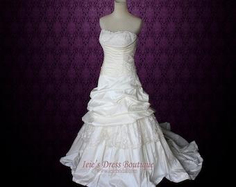Strapless A-line Lace Wedding Dress with Dropped Waist   Romantic Wedding Dress   Heidi