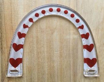 Pair of Acrylic Bag Handles - Red Love Heart Design - Crystal Palace Yarns Purse Handles