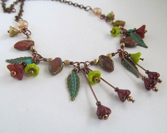 Rustic Autumn Necklace, Glass Flower Leaf Necklace, Earthy Autumn, Fall Jewelry, Copper Necklace, Czech Glass Beads, Moonlilydesigns, Boho