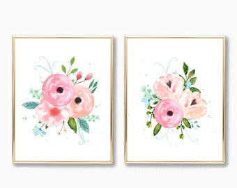 Watercolor floral Nursery Art. Floral Nursery Prints. Pink and Mint Nursery Art. Printable Floral. Pink Nursery Decor. Floral Nursery Decor.