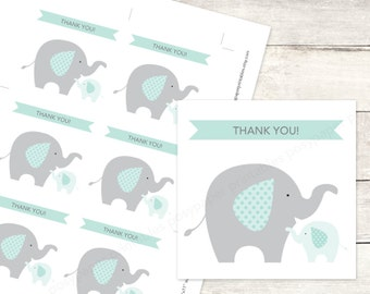 elephant baby shower favor tags printable DIY baby elephants favour tags sage green grey cute thank you cards - INSTANT DOWNLOAD