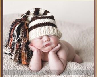 Newborn Knit Baby Hat BaBY PHoTO PRoP Huge Tassel Stocking Cap UNiSeX Ivory Brown Stripe Orange CHooSE CoLOR Boy Girl Chuckles Beanie GiFT