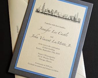 Chicago Skyline Wedding Invitation - Pocket Wedding Invitations - Chicago Lakefront Skyline Invitation