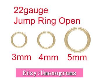 3mm,4mm,5mm Outside Diameter Open Jump Rings 22 gauge 0.64mm 14K Yellow Gold Filled Wholesale BULK DIY Jewelry Finddings 1/20 14kt GF