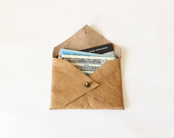 Honey Brown Leather Credit Card Holder / Leather Mini Wallet