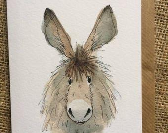 Dennis the donkey greetings card, donkey greetings card,