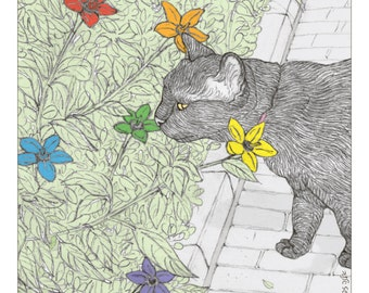 Cats print - 'pride and flowers' - featuring Rafi, the famous Israeli cat from Ha'aretz Newspaper Comics