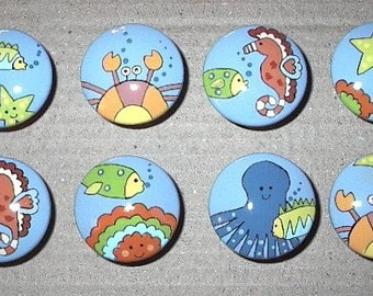 Under The Sea - Hand Painted Wooden Drawer Knobs/Pulls - Set of 8 - Great for Little Boy's Room, Bathroom or Nursery
