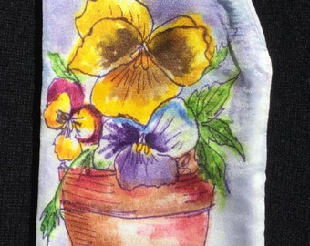 Handpainted Silk Eye Glass Case with Pansies in a Pot Design