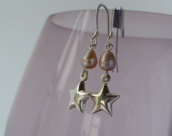 Pink Fresh Water Pearl and Sterling Silver Star drop earrings uk made