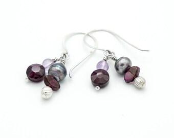 Garnet pearl amethyst double dangle earrings eclectic luxury sterling silver