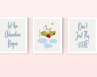 Zebra Airplane Adventure Nursery Set of 3 Digital Prints, Personalized, Baby Room Decor, Digital Download, Boy or Girl, Wall Art, 8x10 #3