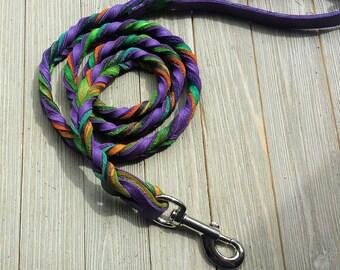 Braided Bullhide lead, Purple, tie dye, leather, handmade leash