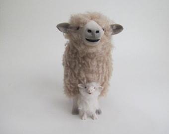 Leicester Longwool Ewe Straddling Lamb