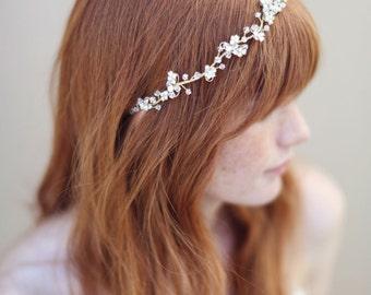 Vigne mariée cheveux, serre-tête, or et cristal - Enchanted vigne florale et cristal cheveux - Style 335 - prêt à expédier