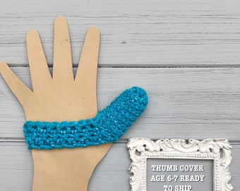 Kids Thumb Guard - Age 6-7 - Stop Thumb Sucking - Ready to Ship - Blue Sparkle - ThumbSnuggler - Crochet Thumb Cover