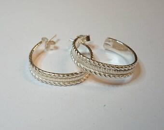 Sterling silver handmade pattern hoop earrings, hallmarked in Edinburgh.