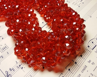 Glass Beads - 42 pcs - 8mm x 6mm - Red Luster Beads - Red Glass Beads - Faceted - Rondelles- Faceted Glass Beads