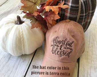 Thankful & Blessed Hat   Thankful and Blessed Ball Cap   Fall Hat   Fall Ball Cal   Monogram Ball Cap   Monogram Cap   Monogram Hat   Monogr