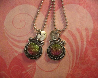 Two Friends Sparkle Cabochon Necklaces Jewelry Gift