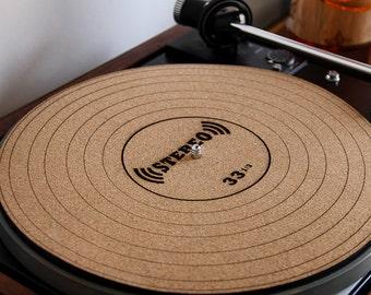 Cork Turntable Slipmat - Engraved LP 33 1/3 Design - Anti-Static Slipmat for Vinyl Records