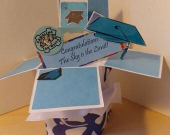 L'obtention du diplôme à la main pop-up boîte explosion carte-University of North Carolina-UNC-ou n'importe quelle école ou Collège-Free livraison aux USA