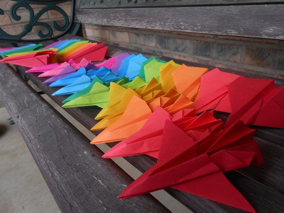 Paper Airplanes. CHOOSE COLORS & PLANES. Escort Cards, Wedding Decoration, Party, Birthday, Travel Wedding.